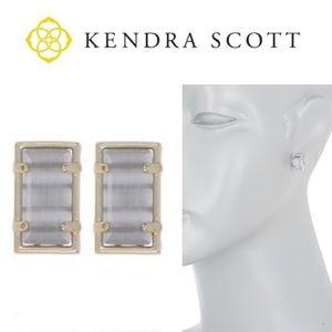 NWT Kendra Scott Paola gold earring Slate Cats Eye